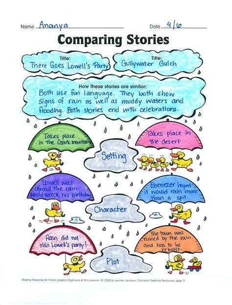 comparing stories story elements graphic organizer rl