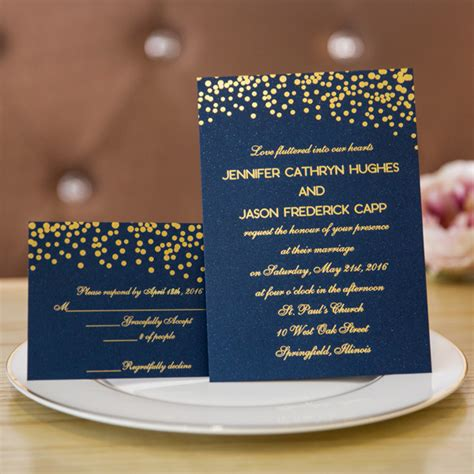 wedding invitations navy and gold foil gold polka dots and navy blue wedding invitation