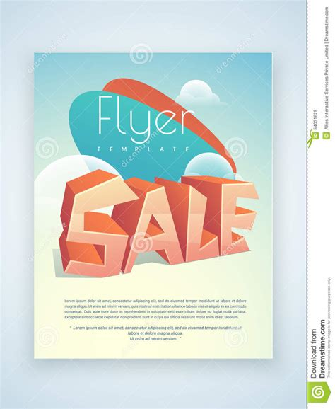 sale flyer template or brochure design stock