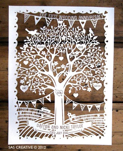 wedding papercut template family tree wedding anniversary papercut template