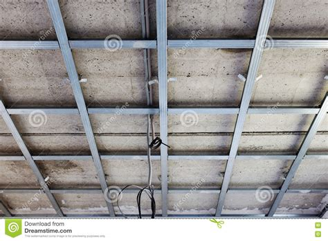 Gypsum Ceiling Installation by Suspended Ceiling Structure Before Installation Of Gypsum