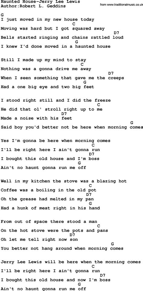 house music song lyrics country music haunted house jerry lee lewis lyrics and chords