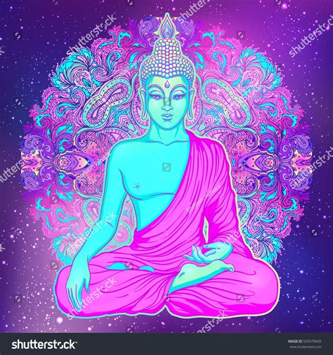 colorful buddha sitting buddha colorful neon background stock vector