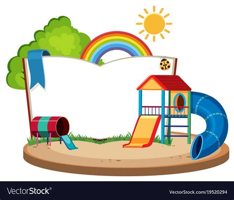 Book Template With Slides In The Playground Vector Image Playground Template