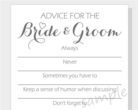 Advice For And Groom Cards Template by Diy Advice For The Groom Printable Cards For A Bridal