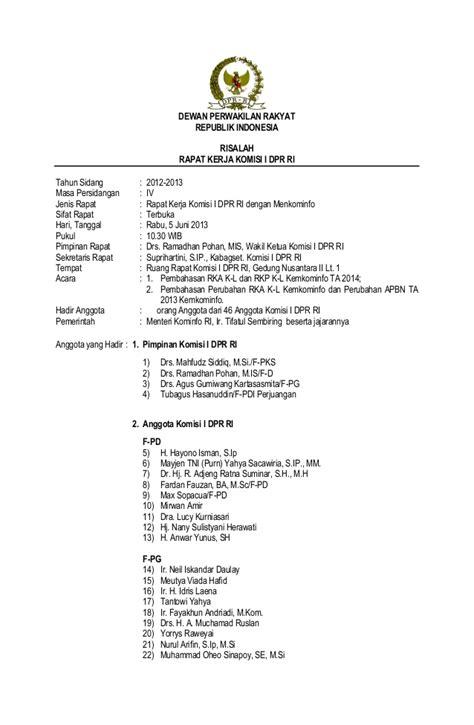 Contoh Risalah Rapat by Risala Rapat Kerja Komisi I Dpr Ri Dengan Menteri
