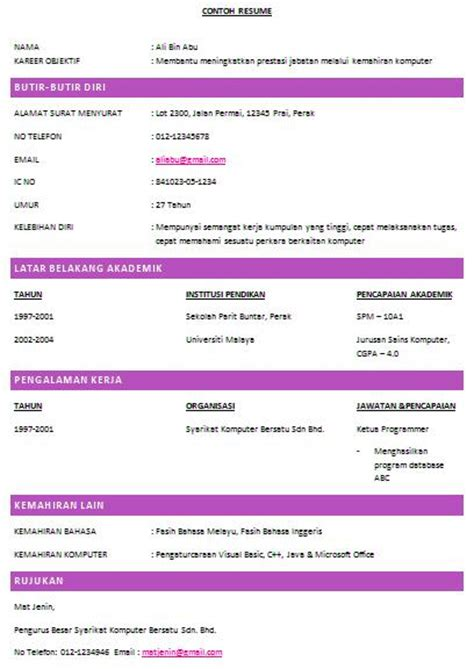 How To Do A Resume Sample by Contoh Resume Lengkap Dunia Farisya