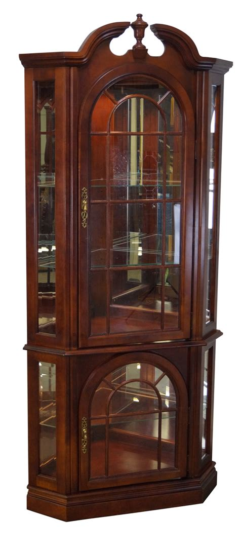 cherry corner curio cabinet traditional cherry corner curio display cabinet chairish