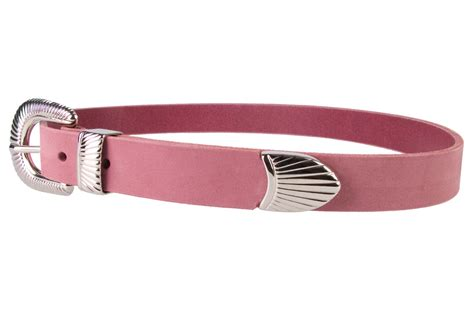 pink leather belt with western style sunray buckle