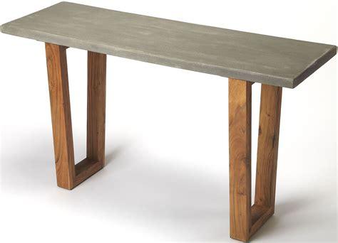 concrete top console table butler loft massey concrete and wood console table