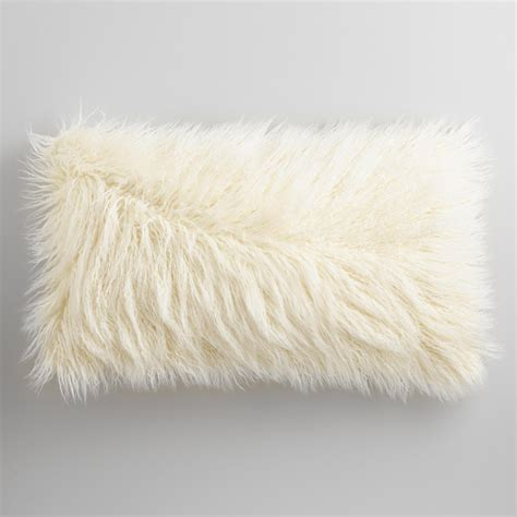 oversized ivory mongolian faux fur lumbar pillow world