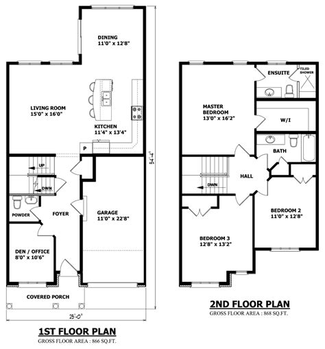 two floor plans small 2 storey house plans pinteres