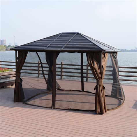 outsunny 12 x 10 steel hardtop outdoor gazebo with