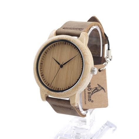 Bobo Bird A22 Bamboo Wood Quartz With Logo Pointer In Gift Box bobo bird l19 bamboo wood watches for brand designer leather band wooden casual