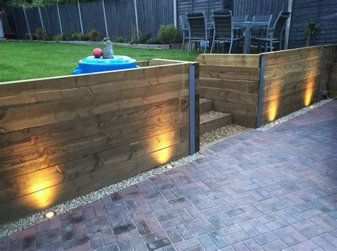 Garden Sleeper Wall by Finished Retaining Sleeper Wall Steps Block Paving