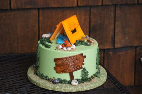 themed birthday cakes for adults green cing themed birthday cake with orange tent topper