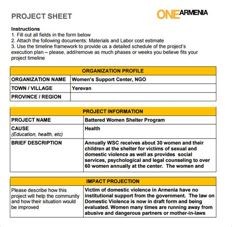 project on a page template project sheet template 7 free pdf documents