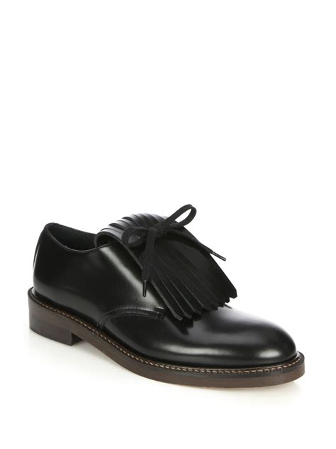 marni oxford shoes lyst marni kilted fringe leather oxfords in black