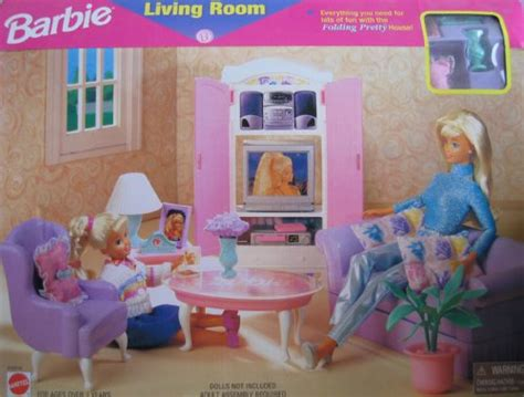 Barbie Living Room | barbie living room playset folding pretty house 1997