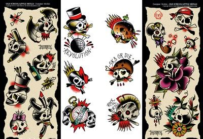 tattoo flash traditional skull skulls little skulls