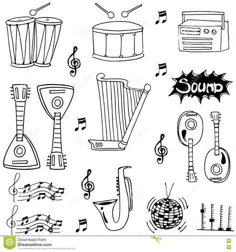 musical doodle free vector doodle of draw musical instrument stock vector