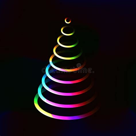 neon xmas tree neon color lights shining tree made from circle layers stock vector image 59837724