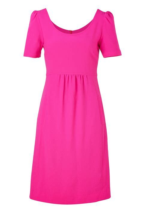 Dress Pink bright pink cotton stretch pencil dress dress elizabeth