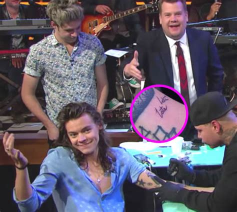 harry styles tattoo late late show i was always in plays at school and in s by george cole