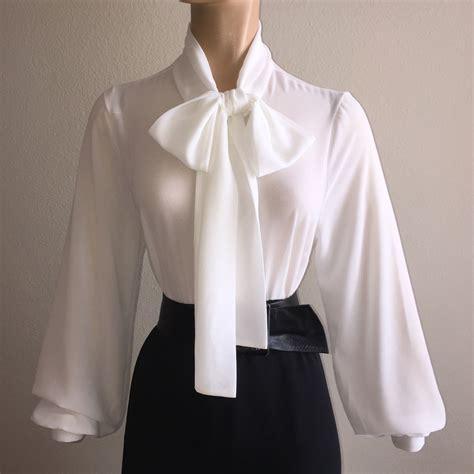 Chiffon Bow Blouse white sheer chiffon bow blouse vtg high neck