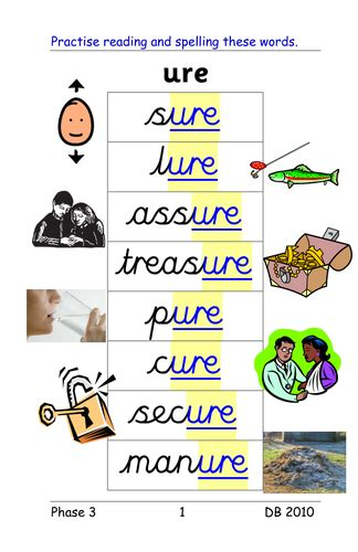 ure worksheets phase 3 ure grapheme as in sure treasure 4 activities and powerpoint of words by