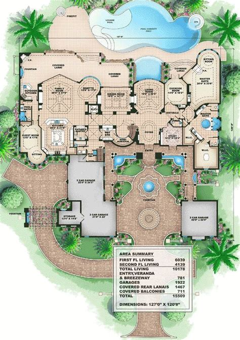 luxury home blueprints plan 66008we tuscan style mansion bonus rooms house