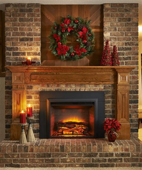 electric brick fireplace like all brick look with the wooden trim home sweet