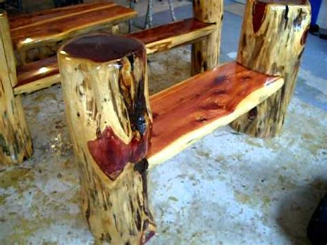 woodworking with logs rustic log benches frontier furniture in backyard