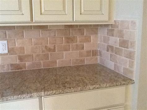 travertine brick backsplash beveled edge travertine backsplash kaiser flooring