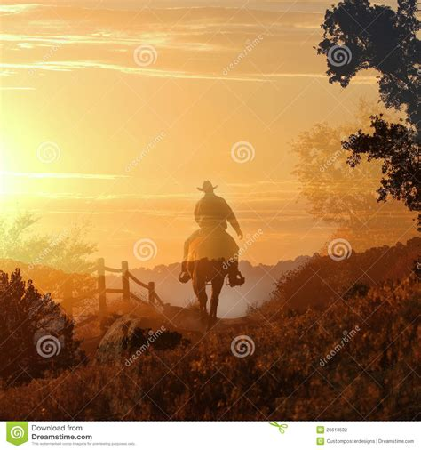 cowboy riding   horse  stock photo image