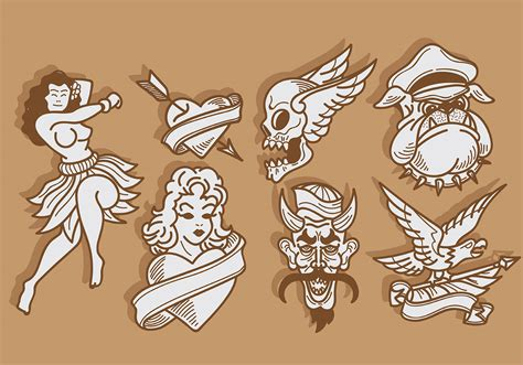tattoo vector images free old school tattoo icons vector download free vector