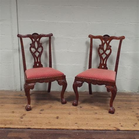 Reproduction Mahogany Dining Chairs Set Of 6 Reproduction Carved Mahogany Chippendale Style Dining Room Chairs Standing On Claw And B