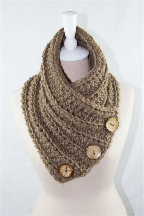 crochet button scarf cowl neck warmer by
