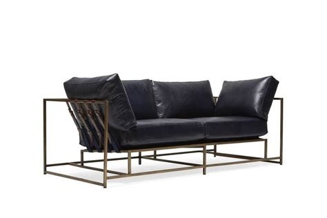 Indigo Leather Sofa Indigo Leather And Antique Brass Two Seat Sofa For Sale At 1stdibs