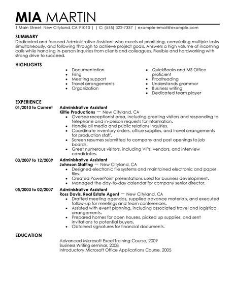 resume exles for office assistant best administrative assistant resume exle livecareer