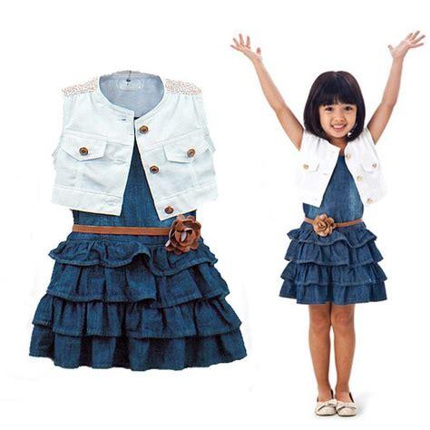 Kid Set Fingers Minnie Denim baby clothes coat denim dress 2pcs set