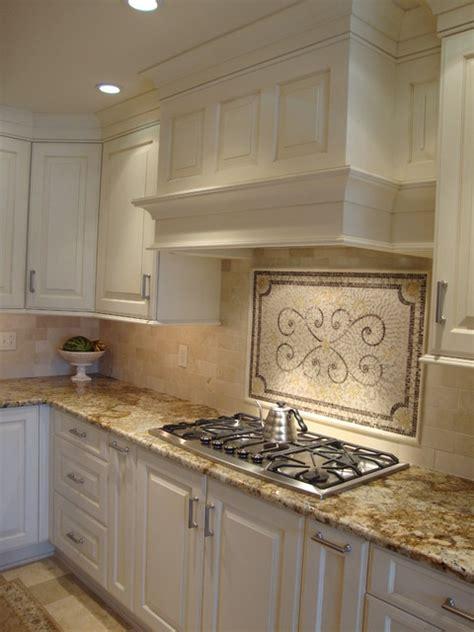 Travertine Kitchen Backsplash Classis Mantle Design Transitional Kitchen