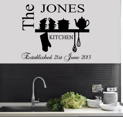 kitchen stencil designs personalised family est name kitchen wall art sticker