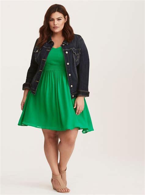 Dress Fashion Dr8962 Bta 2 green chiffon pleated skater dress plus size fashion green curvy