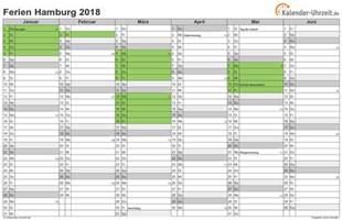 Kalender 2018 Excel Hamburg Ferien Hamburg 2018 Ferienkalender Zum Ausdrucken