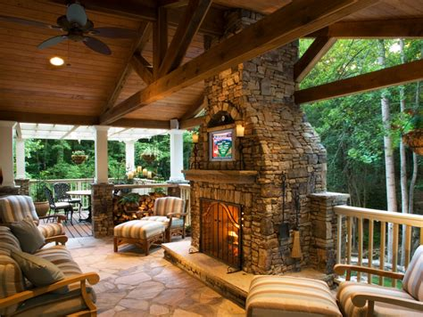 Buckhead covered cedar deck with tv stone fireplace by paces and awesome decks pictures cropped