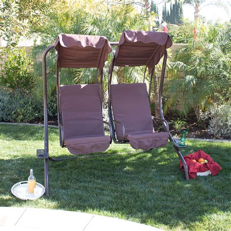 outdoor 2 person swing with canopy new outdoor double swing set 2 person canopy patio