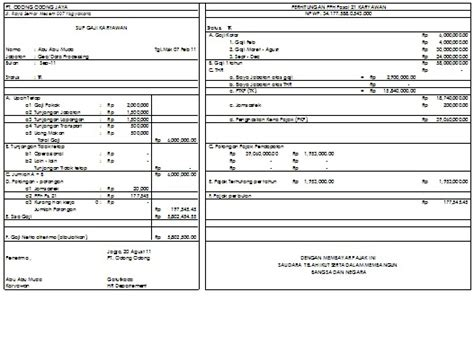 contoh slip gaji format pdf download slip gaji