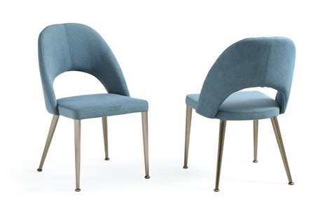 gloria modern blue antique brass dining chair set of 2