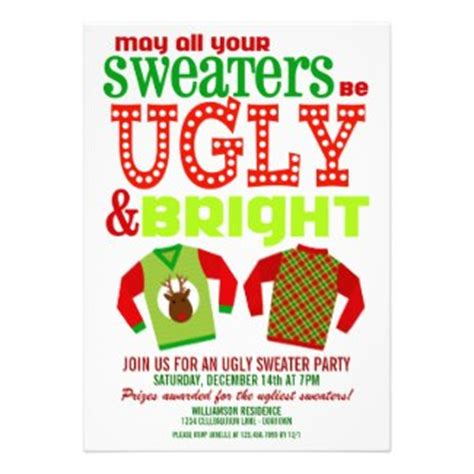 Ugly Christmas Sweater Party Invitations Sweater Invitation Templates Free